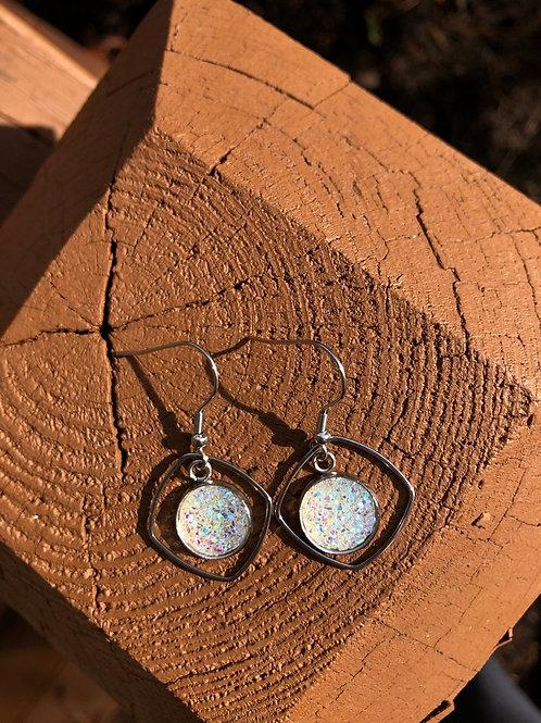 Iridescent Druzy Dangle Earrings, Druzy Earrings, Multi-Color Earrings