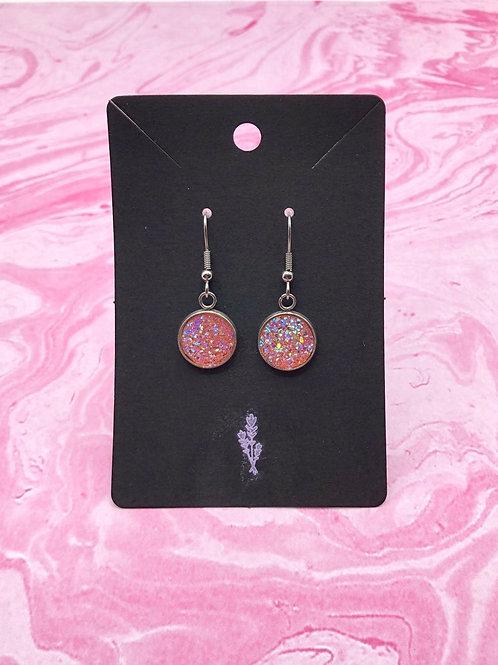Pink Druzy Dangle Earrings, Pink Earrings, Druzy Earrings, Gifts for Women