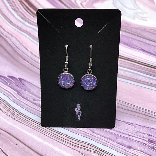 Lavender Druzy Dangle Earrings, Purple Earrings, Druzy Earrings, Dangle Earrings