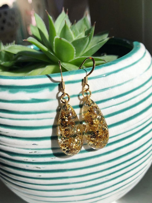 Gold Flake Resin Dangle Earrings