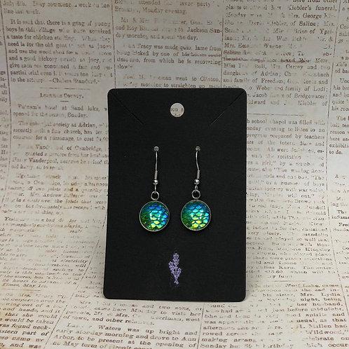 Green Mermaid Inspired Dangle Earring, Gifts for Girls, Mermaid Jewelry