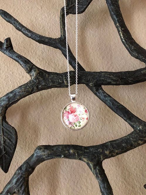 Simple Pink Floral Pendant, Floral Necklace, Statement Necklace, Gifts for Women
