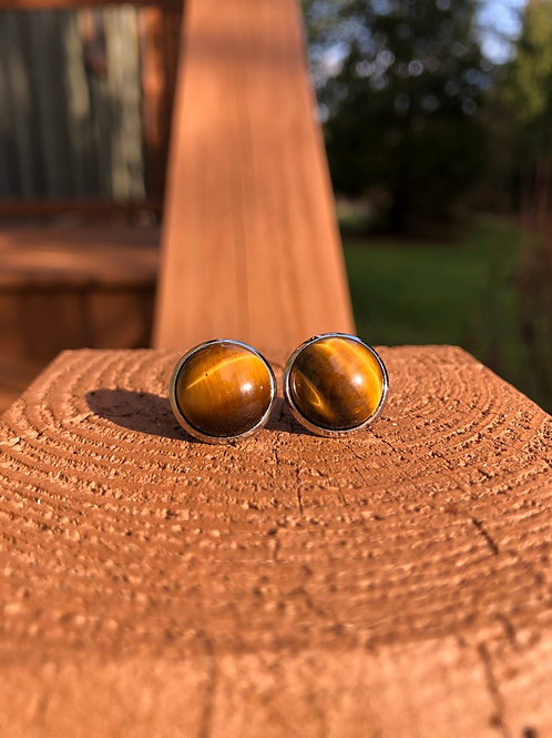 Silver Tiger Eye Earrings, Gemstone Studs, Boho Earrings, Stud Earrings