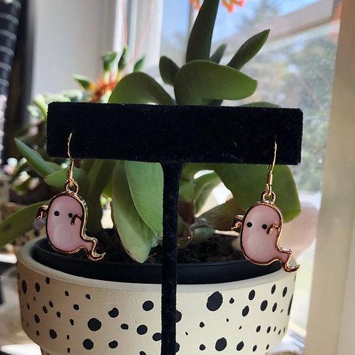 Pastel Pink Ghost Halloween Earrings