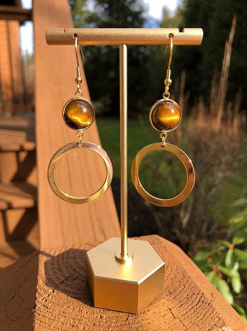 Gold Tiger Eye Earrings, Gold Earrings for Women, Tear Drop Earrings
