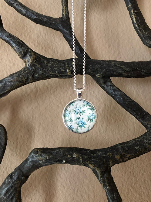 Simple Baby Blue Floral Pendant, Floral Necklace, Gifts for Women