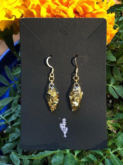 Gold Flake Resin Dangle Earrings, Resin Earrings, Earrings for Women