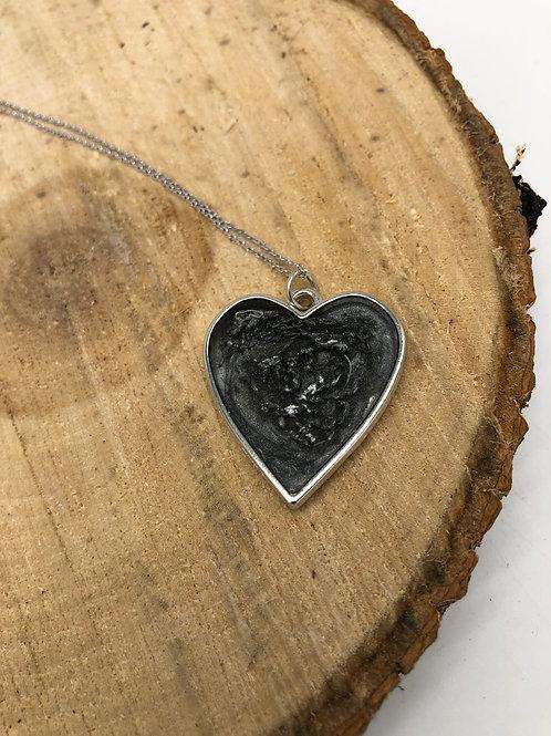 Reversible Metallic Resin Heart Pendant