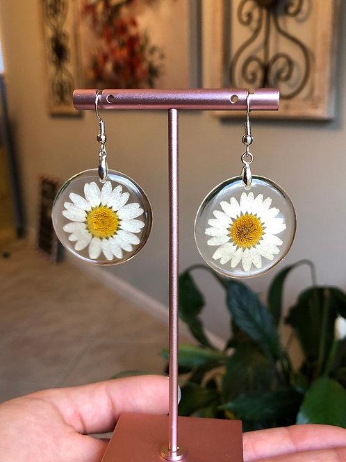 Cute Daisy Earrings in Resin With Sterling Silver Hooks, Daisy Earrings,Earrings