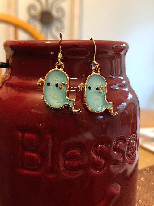 Pastel Blue Ghost Halloween Earrings
