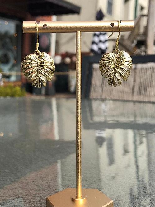 Monstera Earrings, Plant Lover Gift, Minimalist Earrings, Gold Earrings