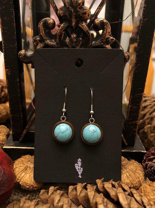 Turquoise & Wood Dangle Earrings