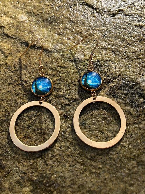 Van Gogh Starry Night Earrings, Art Nouveau Statement Earrings, Gifts for Artist