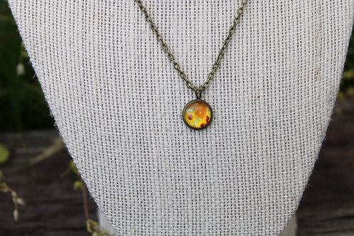 Mini Van Gogh Sunflowers Pendant, Sunflower Necklace, Mini Pendant