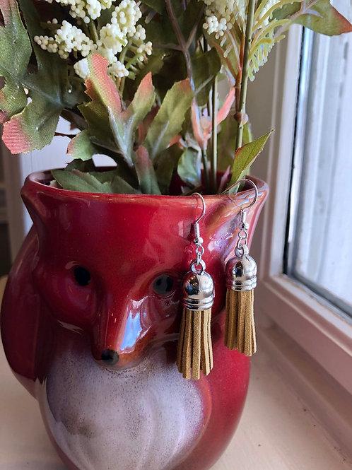 Camel Faux Leather Sterling Silver Tassel Earrings