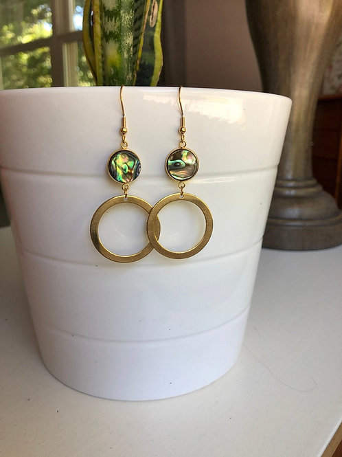 Genuine Abalone Dangle/Drop Earrings With Gold Hoop Accent, Abalone Earrings