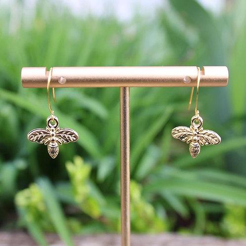 Gold Bee Dangle Earrings, Bee Jewelry, Dangle Earrings, Women's Fashion