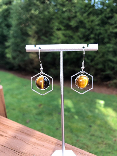 Silver Tiger Eye Dangle Earring, Geometric Earrings, Statement Earrings