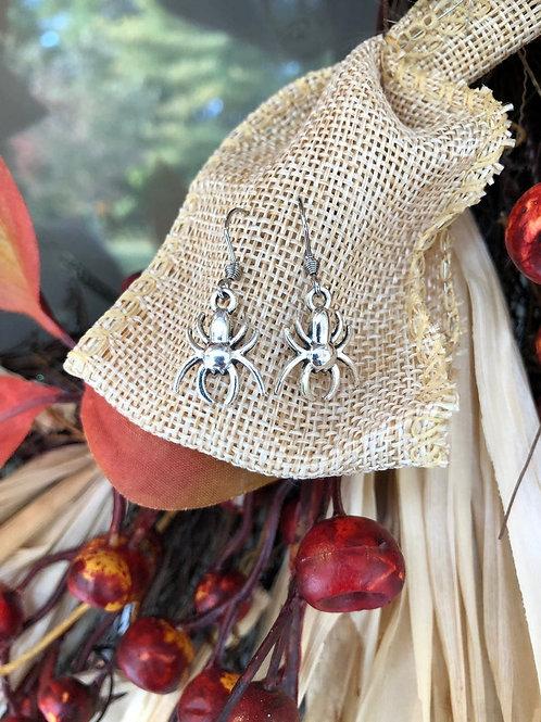 Tibetan Silver Halloween Spider Earrings