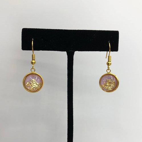 Lavender Resin and Gold Flake Dangle Earrings, Resin Earrings, Resin Jewelry