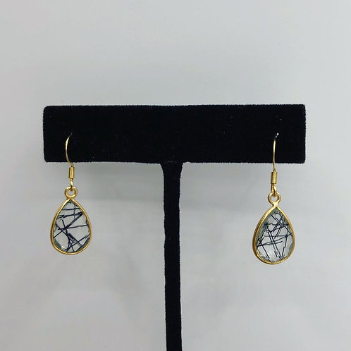 Genuine Tourmalated Quartz Earrings, Quartz Earrings, Gemstone Earrings
