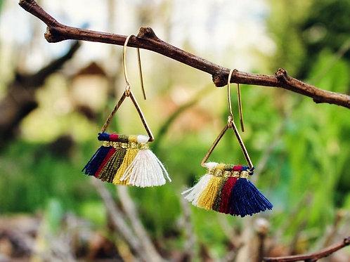 Geometric Tassel Earrings, Triangle Earrings, Minimalistic Earrings, Minimalist