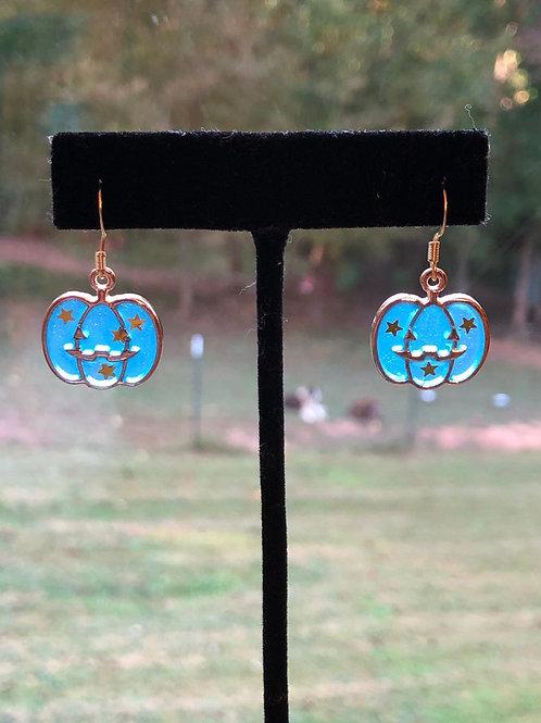 Boo in Blue Pumpkin Halloween Earrings