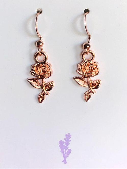 Rose Gold Rose Dangle Earrings
