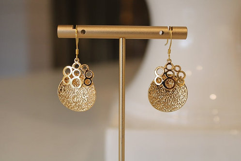 Gold Plated Brass Earrings With Sterling Silver Hooks, Gifts for Women