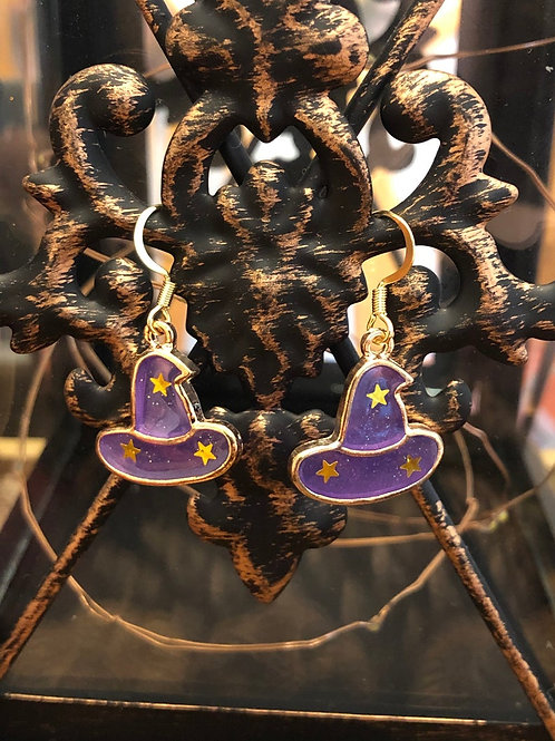 Purple Power Witch Hat Halloween Earrings
