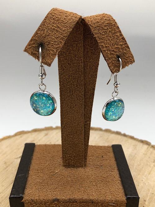 Aqua Druzy Dangle Earrings