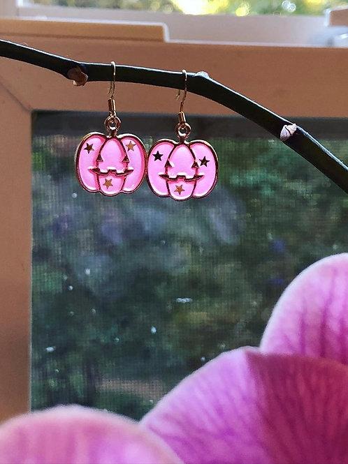 Pretty in Pink Pumpkin Halloween Earrings
