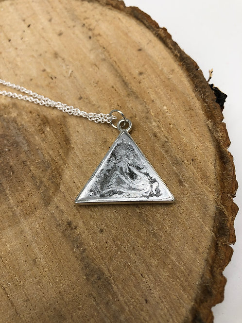 Reversible Metallic Triangle Resin Pendant