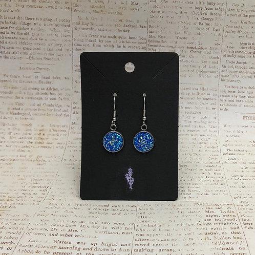 Dark Blue Druzy Dangle Earrings, Blue Earrings, Druzy Earrings, Dangle Earrings