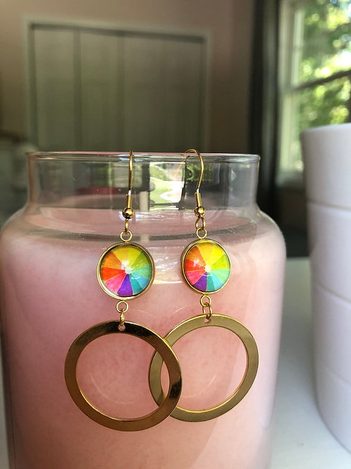 Rainbow Circle Citrus Earrings With Gold Hoop Accent, Rainbow Earrings