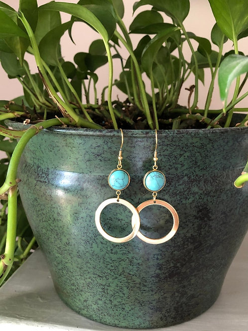Turquoise Dangle/Drop Earrings With Gold Hoop Accent, Turquoise Earrings