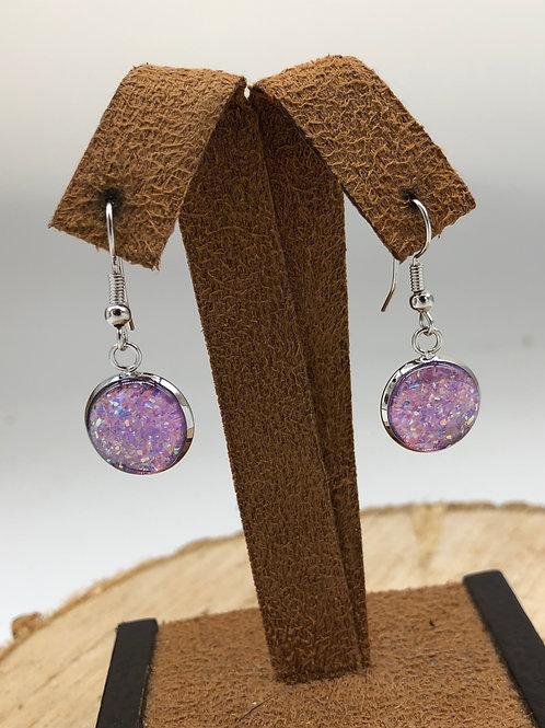 Lavender Druzy Dangle Earrings