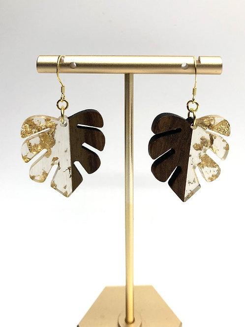 Monstera Leaf Earrings, Tropical Earrings, Wooden Earrings, Boho Jewelry