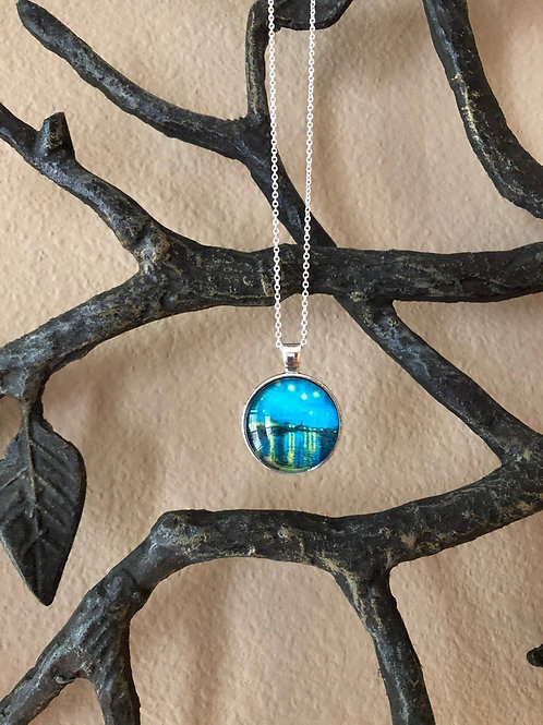 """Van Gogh """"Starry Night Over The Rhone"""" Inspired Pendant, Gifts for Artists"""