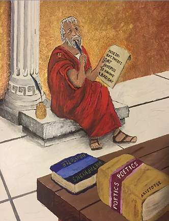 Painting of Aristotle with screepla