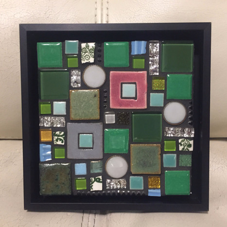 framed mixed media mosaic - Sold
