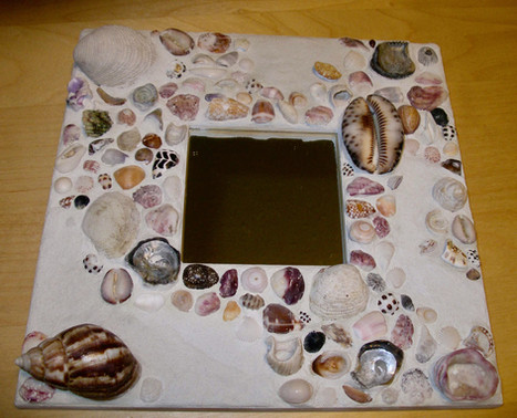 shell mosaic mirror surround - in private collection