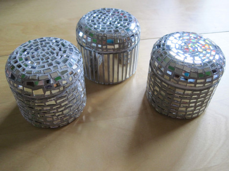 mosaicked canisters - in private collection