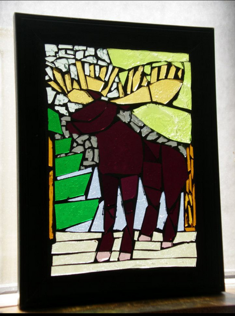 Moose scene mosaic - in private collection