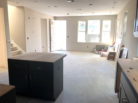 Hamilton Cottages Plan 3 great room under construction