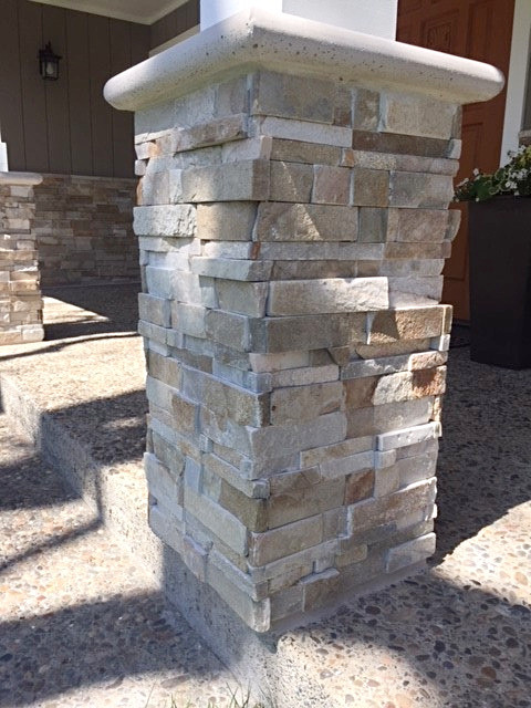 post with stacked stone in Presidents Novato