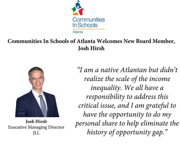 Communities In Schools of Atlanta Welcomes Josh Hirsh