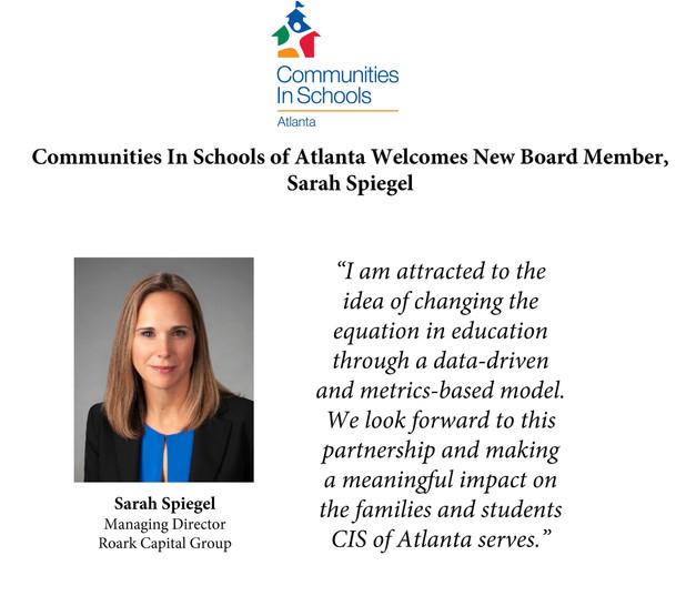 Communities In Schools of Atlanta Welcomes Sarah Spiegel