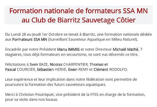 Formation nationale de formateurs SSA MN