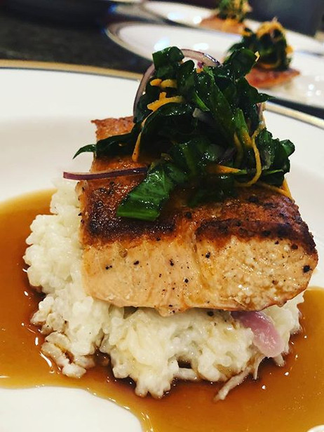 Cast Iron Seared Wild Salmon over creamy